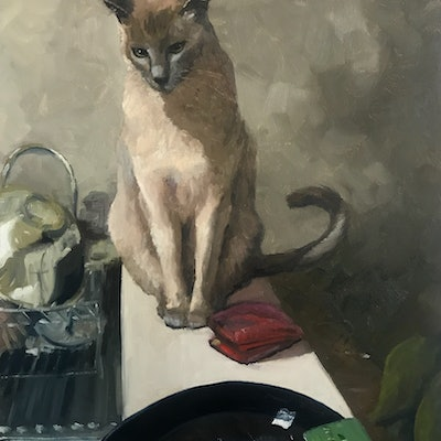 (CreativeWork) Still life with cat by James Needham. Oil Paint. Shop online at Bluethumb.