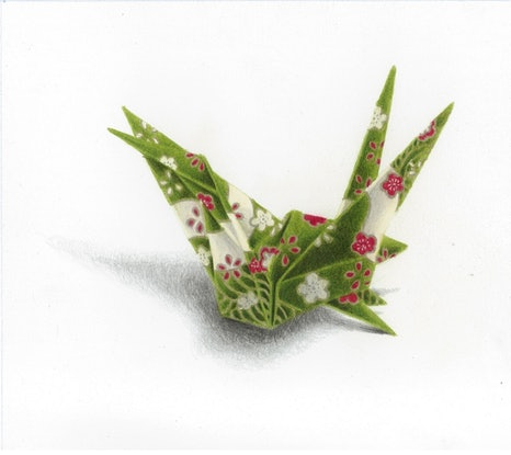 (CreativeWork) Origami Crane No1 by Simon M-Rock. Drawings. Shop online at Bluethumb.