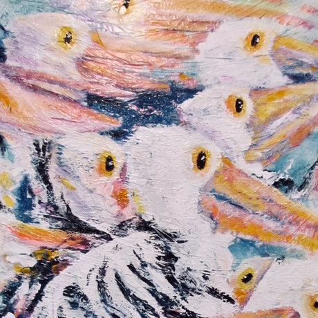 (CreativeWork) 'Pelicans await a feed from Fishermen' by WANDA STAFFORD. Acrylic Paint. Shop online at Bluethumb.