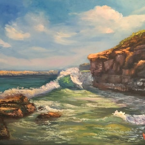 (CreativeWork) Waves near Cave's Beach, Central Coast, NSW - Oil on Linen by Christopher Vidal. #<Filter:0x00007f9940c399f8>. Shop online at Bluethumb.