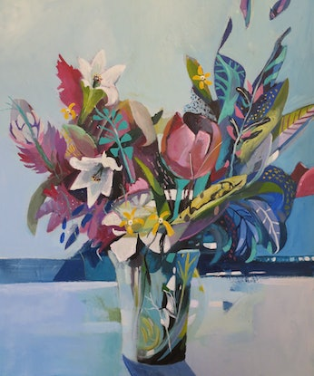 (CreativeWork) Abstract Still Life -  Tulip with Lillies by Susan Trudinger. Acrylic. Shop online at Bluethumb.