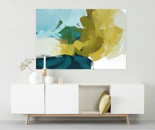 (CreativeWork) Viva -  large blue, mustard abstract painting by Stephanie Laine. #<Filter:0x000055a2a73f0940>. Shop online at Bluethumb.