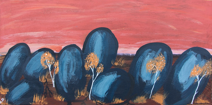 (CreativeWork) Out of the Pebbles (19-TA212) by Ruth Dawson. Acrylic Paint. Shop online at Bluethumb.