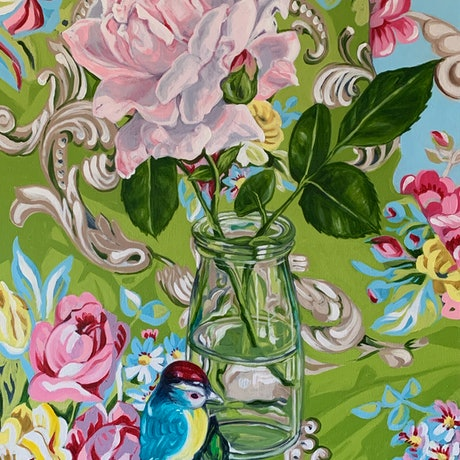 (CreativeWork) Shabby Circa and the Rose (Vintage Fabric Series) by Alicia Cornwell. Oil Paint. Shop online at Bluethumb.