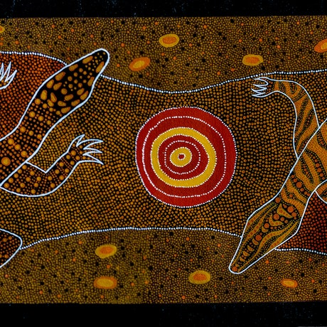 (CreativeWork) Perentie and Goanna by Samara Wallace. Acrylic Paint. Shop online at Bluethumb.