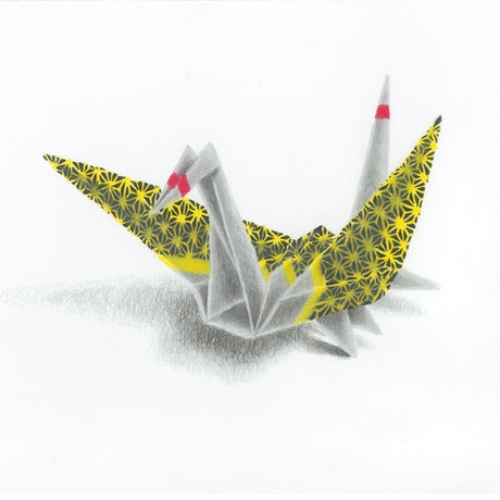 (CreativeWork) Origami Crane No4 by Simon M-Rock. Drawings. Shop online at Bluethumb.