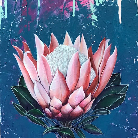(CreativeWork) Protea by Kylee Rees. Acrylic Paint. Shop online at Bluethumb.