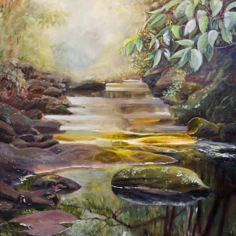 (CreativeWork) Merlin's forest, Wilksch Walk, Northbridge by fiona smith. Oil Paint. Shop online at Bluethumb.