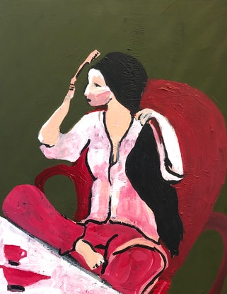 (CreativeWork) Forgot to have my haircut...again by Sharon Monagle. Acrylic Paint. Shop online at Bluethumb.