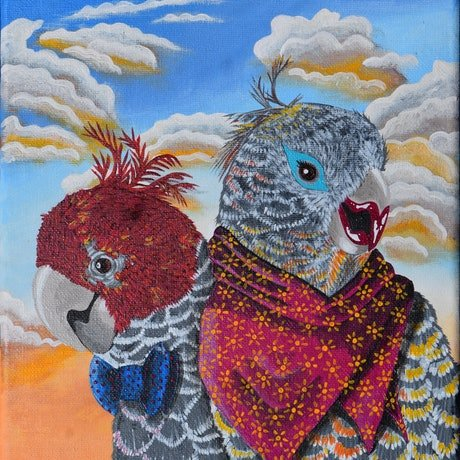 (CreativeWork) Captain and Mrs SkyWing Go Out for Dinner by Emily Provan. Acrylic Paint. Shop online at Bluethumb.