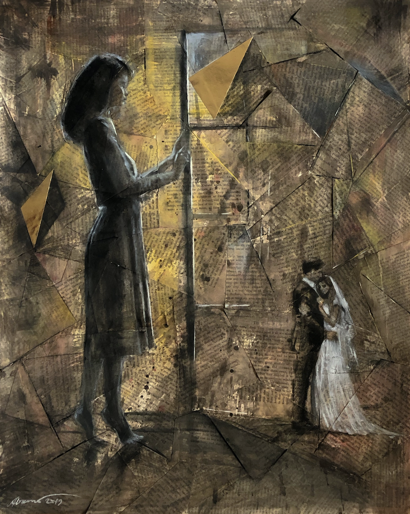 (CreativeWork) Young Woman at a Window by Al Remo. Mixed Media. Shop online at Bluethumb.