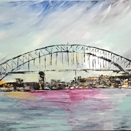 (CreativeWork) 'Harbour Colours'. Sydney Harbour Bridge and Opera House in oils. by dMilo .. Oil Paint. Shop online at Bluethumb.