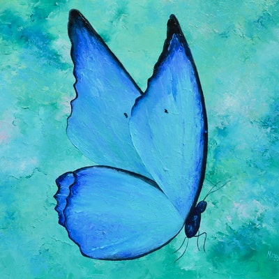 (CreativeWork) BLUE MORPHO BUTTERFLY by Jan Matson. #<Filter:0x00005591c3446808>. Shop online at Bluethumb.