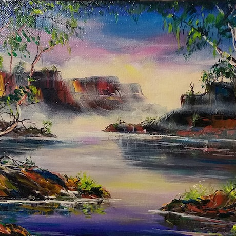 (CreativeWork) Purple Gorge N.T Australia by Mark Rolls. Acrylic Paint. Shop online at Bluethumb.