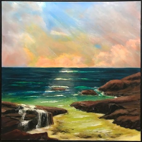 (CreativeWork) Dusk South coast  by Denise Park. Acrylic Paint. Shop online at Bluethumb.