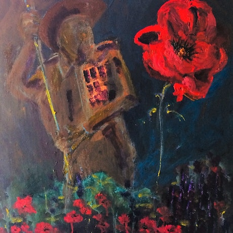 (CreativeWork) The Anzac, once a proud nation  {framed} by Margaret Morgan (Watkins). Oil Paint. Shop online at Bluethumb.