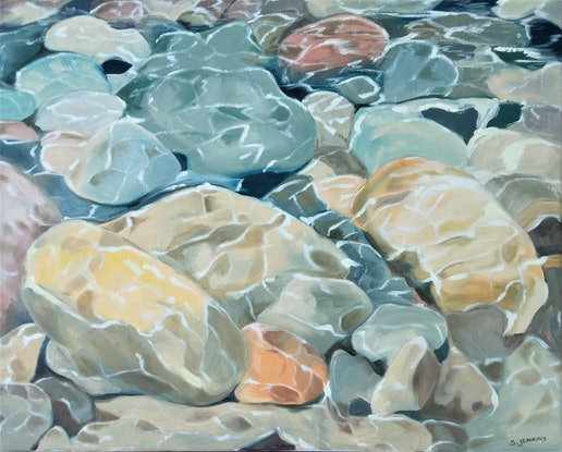 (CreativeWork) River stones by Sandra Jenkins. Oil Paint. Shop online at Bluethumb.