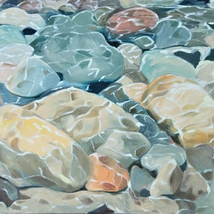 (CreativeWork) River stones by Sandra Jenkins. #<Filter:0x0000557e93f3d6a0>. Shop online at Bluethumb.
