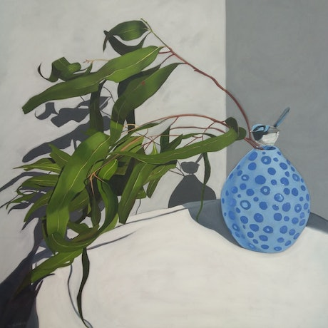 (CreativeWork) The Blue Wren by Sandra Jenkins. Oil Paint. Shop online at Bluethumb.