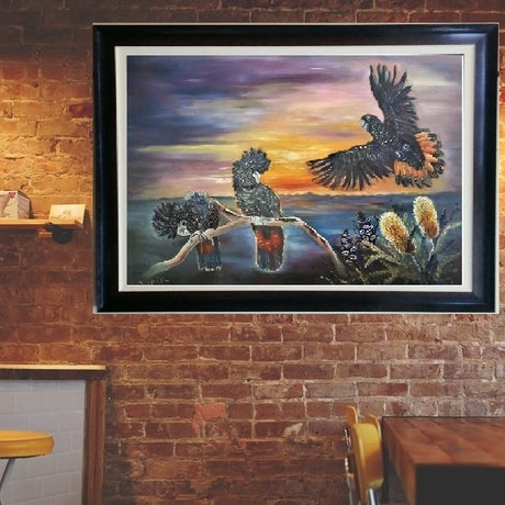 (CreativeWork) 'Red Tailed Black Cockatoos and Tamborine Mountain Sunset' by Susan Capan. Oil Paint. Shop online at Bluethumb.