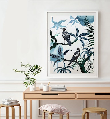(CreativeWork) Darley Street Magpies by Sally Browne. Watercolour Paint. Shop online at Bluethumb.
