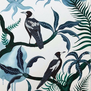 (CreativeWork) Darley Street Magpies by Sally Browne. #<Filter:0x00007f2731726988>. Shop online at Bluethumb.