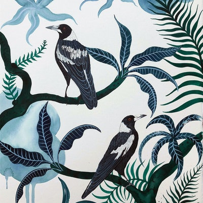 (CreativeWork) Darley Street Magpies by Sally Browne. #<Filter:0x00007f6dd96b8b10>. Shop online at Bluethumb.