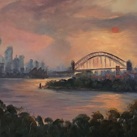 (CreativeWork) Sydney Harbour in Bush fire smoke - Oil on stretched linen - ready to hang by Christopher Vidal. Oil Paint. Shop online at Bluethumb.