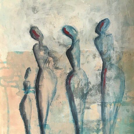 (CreativeWork) Mingling  by Kat Hamilton. Acrylic Paint. Shop online at Bluethumb.