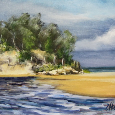 (CreativeWork) Coolum Stumers Creek Coolum Qld  Plein Air Oil  Painting by Chris Hobel. Oil Paint. Shop online at Bluethumb.