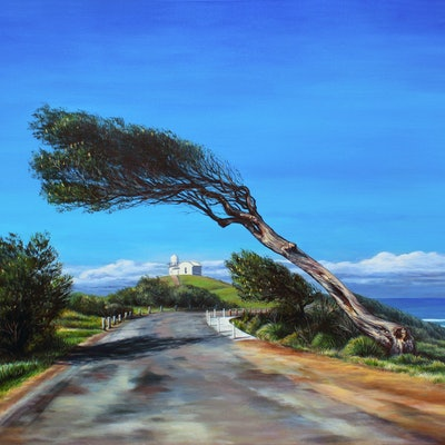 (CreativeWork) Wind Swept Tree & Lighthouse, Port Macquarie, NSW by Nicola McLeay. Acrylic Paint. Shop online at Bluethumb.