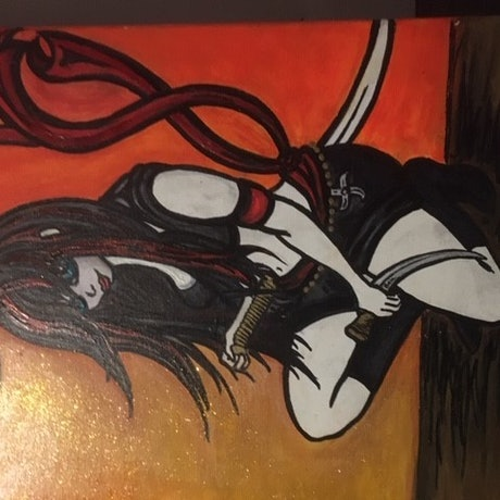 (CreativeWork) Katana in the shadows by Bec Meek. Acrylic Paint. Shop online at Bluethumb.