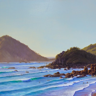 (CreativeWork) Surf Swells At Flynns Beach , Port Macquarie, NSW by Nicola McLeay. Oil Paint. Shop online at Bluethumb.