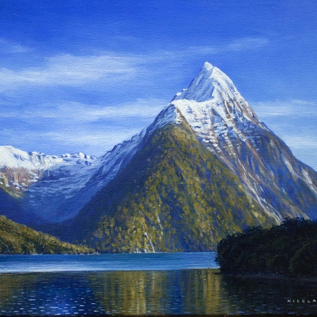 (CreativeWork) The Iconic Mitre Peak, Milford Sound, New Zealand by Nicola McLeay. Oil Paint. Shop online at Bluethumb.