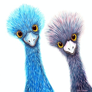 (CreativeWork) Emus - Watcha Lookin' At?  by Linda Callaghan. #<Filter:0x00007f7db4c49620>. Shop online at Bluethumb.