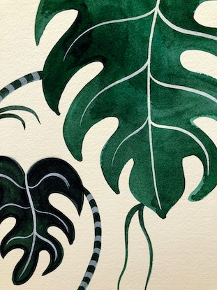 (CreativeWork) Cockatiel Monstera by Sally Browne. Watercolour Paint. Shop online at Bluethumb.