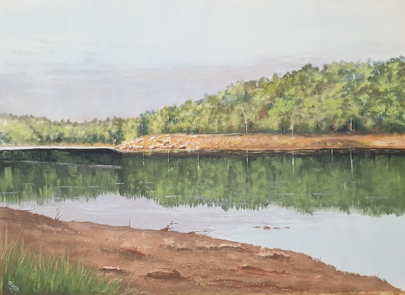 (CreativeWork) Waroona Dam by Harry Lea. Watercolour Paint. Shop online at Bluethumb.