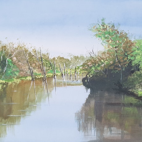 (CreativeWork) Reflections on Equis Lake by Harry Lea. Watercolour Paint. Shop online at Bluethumb.