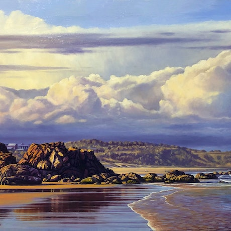 (CreativeWork) Cloud Formations At Lighthouse Beach, Port Macquarie, NSW by Nicola McLeay. Oil Paint. Shop online at Bluethumb.