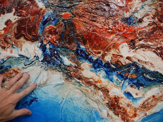 (CreativeWork) Oceanic Ripple 270cm x 120cm  Blue Orange Texture Acrylic Gloss Finish Abstract Franko by _Franko _. #<Filter:0x00007fc1f8aed118>. Shop online at Bluethumb.