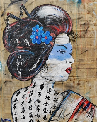 (CreativeWork) Rubine Kanzashi 150cm x 120cm Linen Memoirs of a Geisha Japanese Book Pages on Canvas Urban Pop Art Franko by _Franko _. Mixed Media. Shop online at Bluethumb.