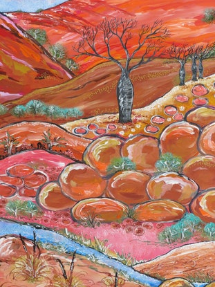 (CreativeWork) Australian Abstract Landscape - Boab by Denise Balson. Acrylic Paint. Shop online at Bluethumb.