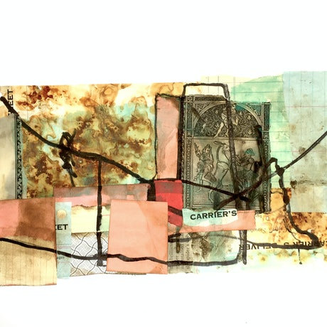 (CreativeWork) The Carriers.  Mixed media collage on 300gsm watercolour paper. (Unframed) by Jenny Davis. Mixed Media. Shop online at Bluethumb.