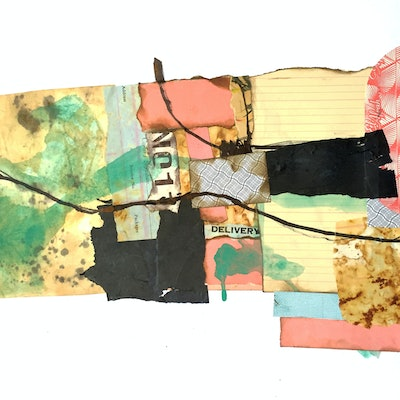 (CreativeWork) Delivery. Mixed media collage.  by Jenny Davis. #<Filter:0x00005597d89b02d8>. Shop online at Bluethumb.