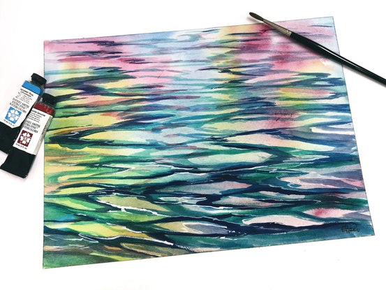 (CreativeWork) Water reflections by Chris Hobel. Watercolour Paint. Shop online at Bluethumb.