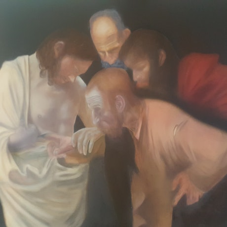 (CreativeWork) The Incredulity of Saint Thomas (Caravaggio study) by Michael Miller. Oil Paint. Shop online at Bluethumb.