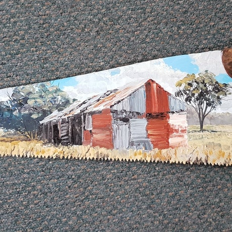 (CreativeWork) RUSTY SHED ON SAW by Margaret HADFIELD. Oil Paint. Shop online at Bluethumb.