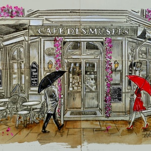 (CreativeWork) THAT DAY AT THE CAFE DE MUSEES by loui jover. Drawings. Shop online at Bluethumb.