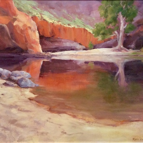 (CreativeWork) Beauty, Ormiston Gorge  by Robin Hicks. Oil Paint. Shop online at Bluethumb.
