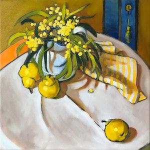 (CreativeWork) (Print) Wattle, Pears and orange stripe Ed. 3 of 20 by kirsty mcintyre. Print. Shop online at Bluethumb.